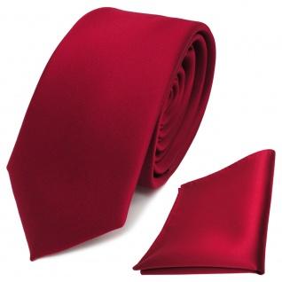 schmale TigerTie Schlips Krawatte + Einstecktuch rot karminrot uni Binder Tie