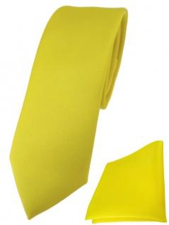 schmale TigerTie Designer Krawatte + Einstecktuch in gelb einfarbig uni