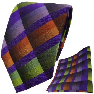 TigerTie Krawatte + Einstecktuch in lila flieder orange grün gelb kariert