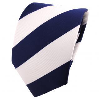 schöne TigerTie Designer Krawatte kobaltblau weiß gestreift - Binder Tie Cravate