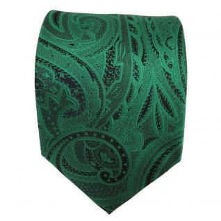 Elegante TigerTie Krawatte grün smaragdgrün schwarz Paisley - Krawatte Tie - Vorschau 2
