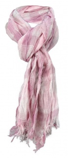 Raffschal rosa altrosa grau kariert mit kleinen Fransen - Schal Gr. 180 x 50 cm