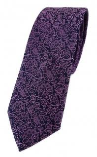 TigerTie - schmale Designer Krawatte in rosa violett schwarz florales Muster