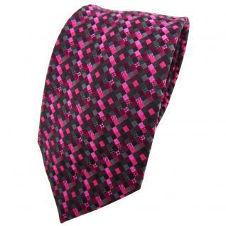 TigerTie Krawatte lila magenta pink schwarz anthrazit grau gemustert - Binder