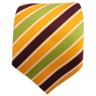 TigerTie Satin Krawatte gelb sonnengelb bordeaux grün weiß gestreift - Binder - Vorschau 2