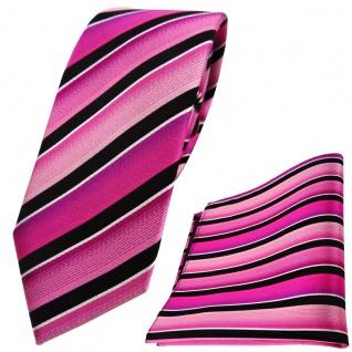 schmale TigerTie Seidenkrawatte + Einstecktuch pink schwarz silber gestreift