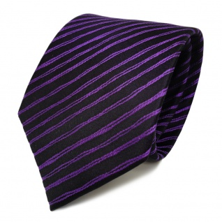 Schicke Seidenkrawatte lila dunkellila schwarz gestreift - Krawatte Seide Tie