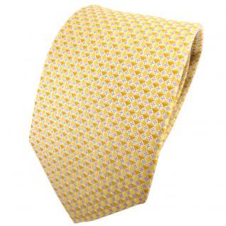 TigerTie Seidenkrawatte gelb goldgelb silber grau gemustert - Krawatte Seide