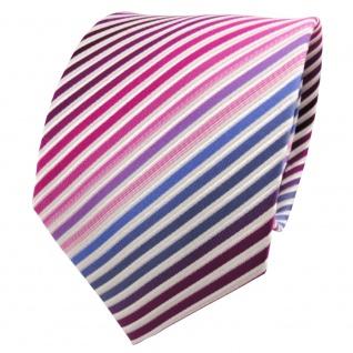 TigerTie Seidenkrawatte pink magenta lila blau creme gestreift - Krawatte Seide