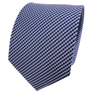 TigerTie Seidenkrawatte blau hellblau dunkelblau silber kariert - Krawatte Seide