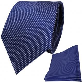 TigerTie Seidenkrawatte + Seideneinstecktuch in royal blau silber gestreift