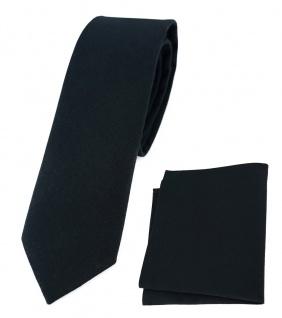TigerTie - schmale Krawatte + Einstecktuch aus 100% Baumwolle schwarz einfarbig