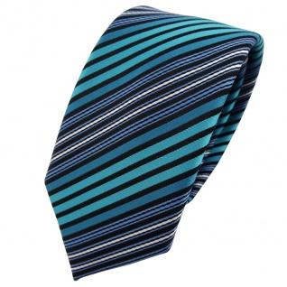 Schmale TigerTie Krawatte türkis blau schwarz silber gestreift - Binder Tie