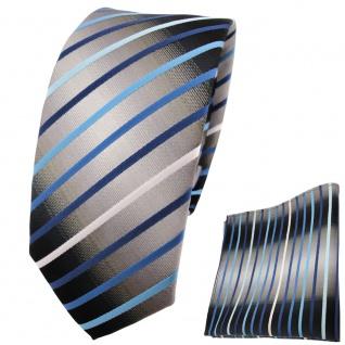 schmale TigerTie Krawatte + Einstecktuch türkis blau silber grau weiß gestreift