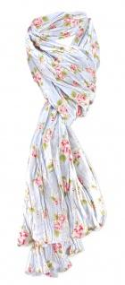 Damen Halstuch in blau Blumenmuster Gr. 180 cm x 50 cm - Tuch Schal Baumwolle