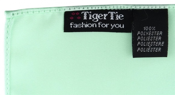 schmale TigerTie Satin Krawatte + TigerTie Einstecktuch mint Uni einfarbig - Vorschau 4