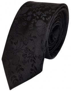schmale TigerTie Seidenkrawatte in schwarz mit Blumenmuster aus reine Seide