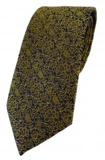 TigerTie Designer Krawatte in gelbgold schwarz florales Muster
