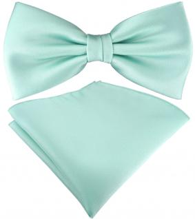 TigerTie Satin Fliege + TigerTie Einstecktuch in mint grün Uni Einfarbig + Box