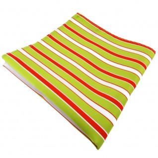 TigerTie Einstecktuch in grün hellgrün rot weiß gestreift - Tuch 100% Polyester