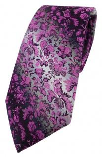 TigerTie Designer Krawatte magenta rosa anthrazit grausilber geblümt gemustert