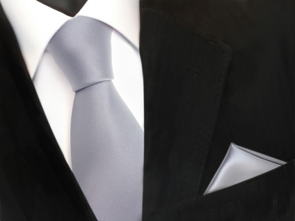 schöne TigerTie Krawatte + Einstecktuch in grau hellgrau silber uni - Binder Tie