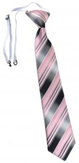TigerTie Kinderkrawatte rosa hellrosa silber anthrazit gestreift - mit Gummizug