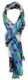 Schal in blau türkis gelb magenta mint grau grün weiss gemustert - 180 x 50 cm