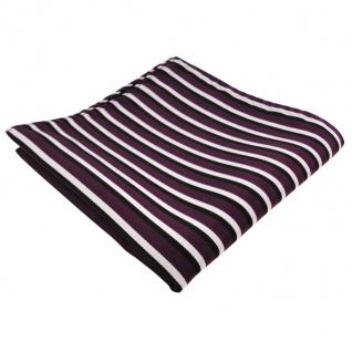 TigerTie Einstecktuch in violett lila schwarz weiß - Tuch 100% Polyester