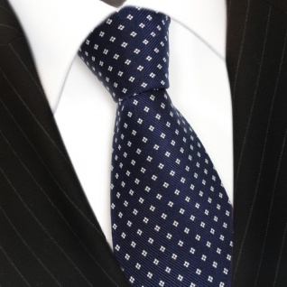 TigerTie Designer Seidenkrawatte blau royalblau dunkelblau weiss gepunktet - Vorschau 3