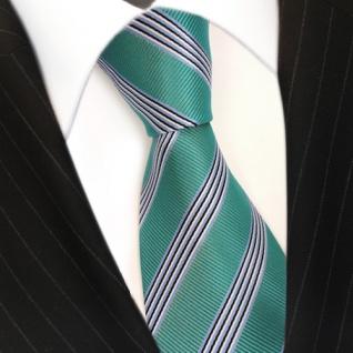 Elegante Krawatte - Schlips Binder grün blau schwarz weiss gestreift - Tie - Vorschau 3