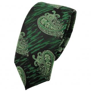 Schmale TigerTie Krawatte grün moosgrün schwarz paisley gemustert - Schlips Tie