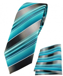 schmale TigerTie Krawatte + Einstecktuch türkis silber anthrazit grau gestreift