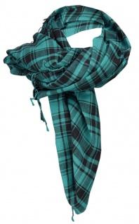 Halstuch in petrol schwarz kariert mit Fransen an zwei Seiten - Gr. 100 x 100 cm