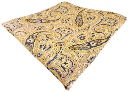 TigerTie Einstecktuch in gelb gold beige sandgelb anthrazit Paisley gemustert