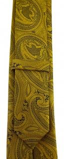 TigerTie - schmale Designer Krawatte in gold schwarz Paisley gemustert - Vorschau 3
