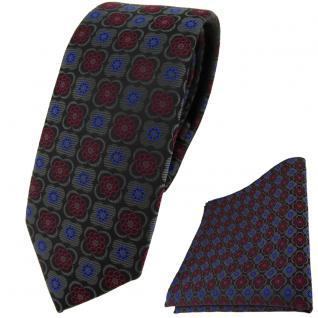 schmale TigerTie Krawatte +Einstecktuch anthrazit weinrot blau schwarz gemustert