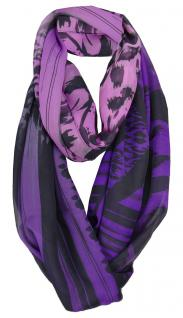 TigerTie Chiffon Loop Schal in lila violett flieder gemustert - Gr. 180 x 70 cm
