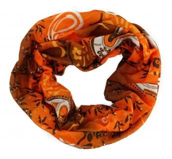 TigerTie Multifunktionstuch orange braun weiss Paisley - Tuch Schal Schlauchtuch
