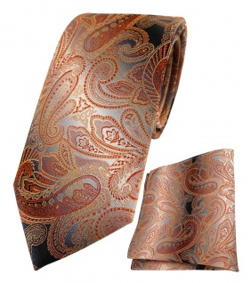 TigerTie Seidenkrawatte + Einstecktuch in orange rot anthrazit grau Paisley