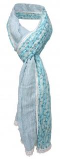 gecrashter Schal in türkis mint weiß gemustert mit Spitze - Gr. 180 x 50 cm