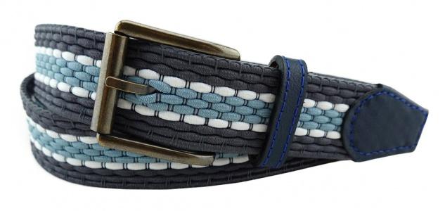 TigerTie - Stretchgürtel in grau hellblau weiß gestreift - Bundweite 100 cm