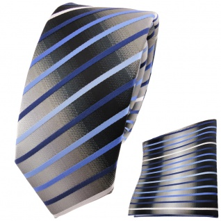 schmale TigerTie Krawatte + Einstecktuch blau hellblau grau weiß gestreift