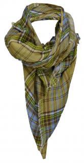 TigerTie Designer Schal in braun blau grün grau gemustert - Gr. 180 x 50 cm