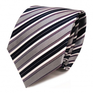 TigerTie Seidenkrawatte lila grau blau dunkelblau creme gestreift - Krawatte