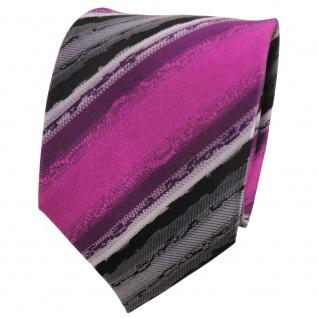 TigerTie Designer Seidenkrawatte magenta anthrazit schwarz gestreift - Krawatte