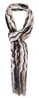 Damen Netzschal in schwarz weiß gold gestreift mit Fransen - Gr. 180 x 35 cm - Vorschau