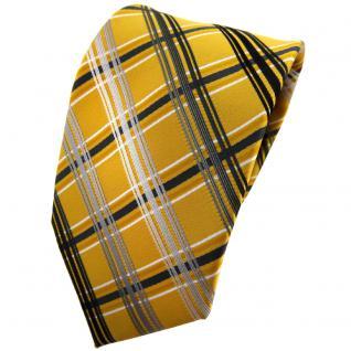 TigerTie Designer Krawatte gold silber grau anthrazit kariert - Binder Tie