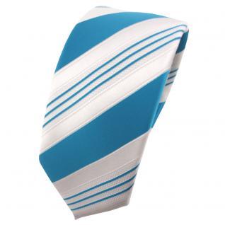 Schmale TigerTie Satin Krawatte türkis wasserblau weiß silber gestreift - Binder