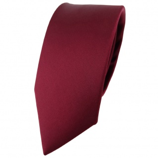 schmale TigerTie Satin Seidenkrawatte bordeaux einfarbig - Krawatte 100% Seide
